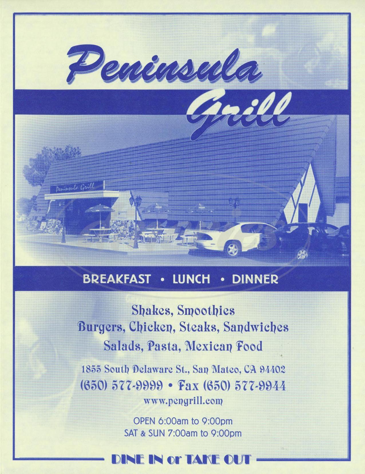 menu for Peninsula Grill