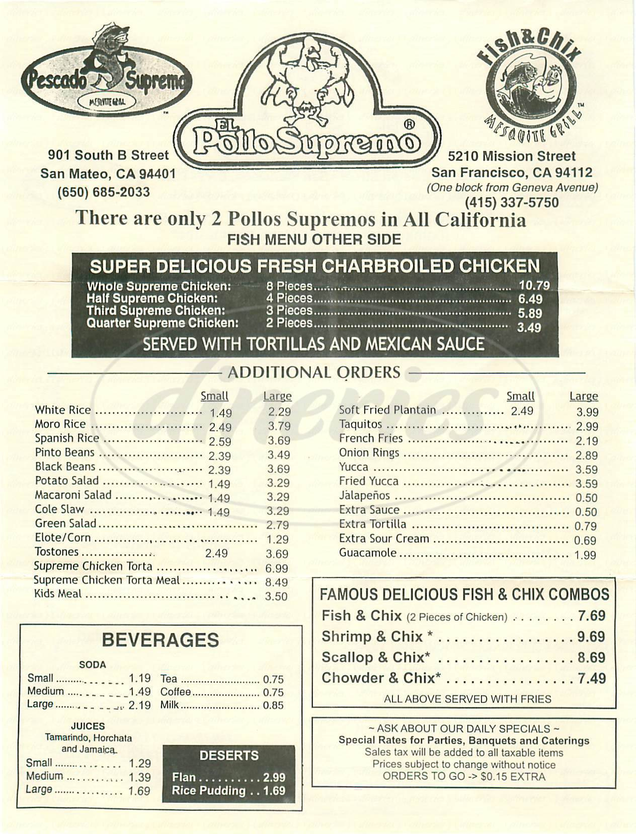 menu for El Pollo Supremo
