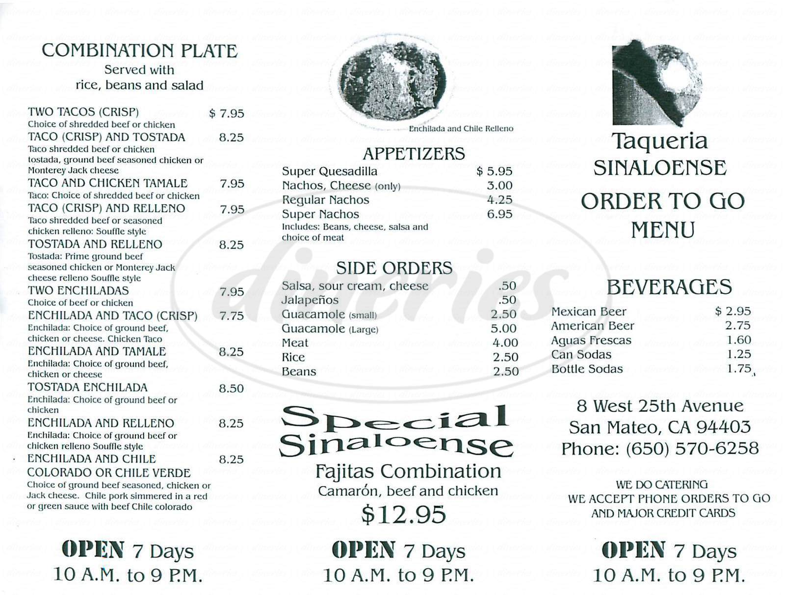 menu for Taqueria Sinaloense