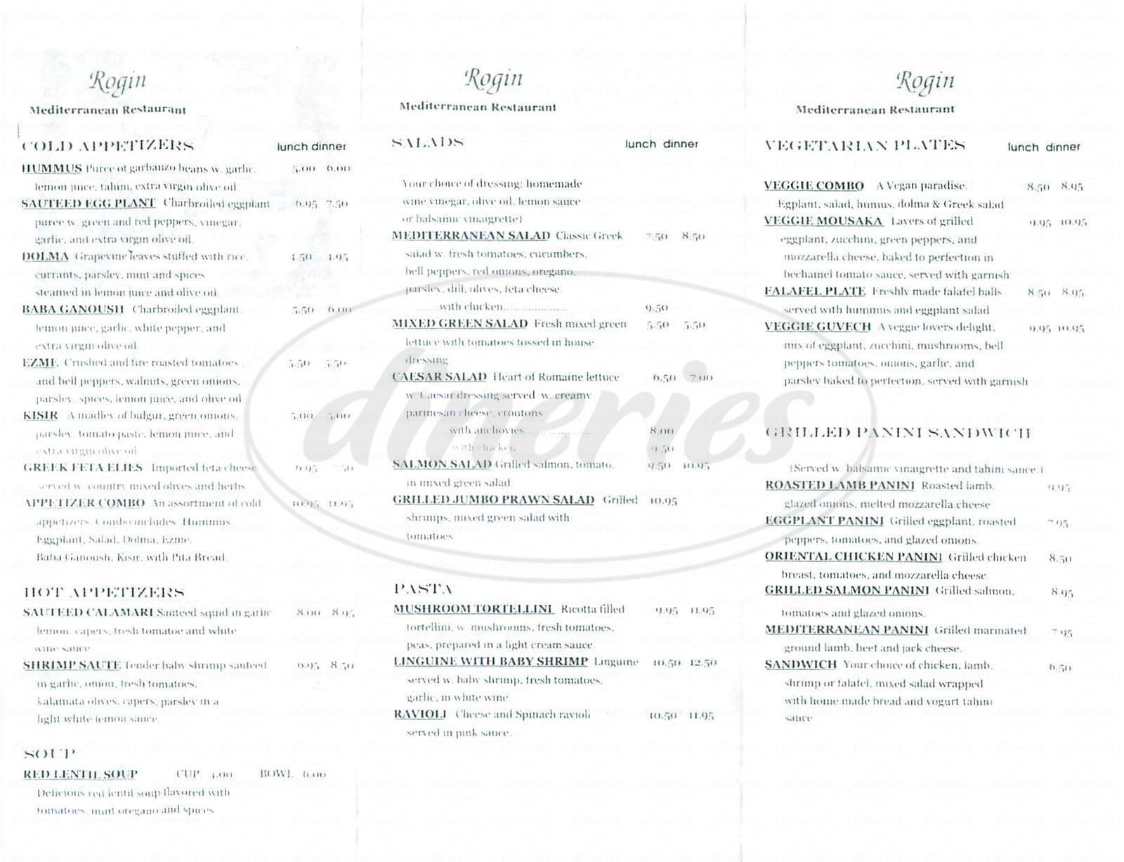 menu for Rogin Mediterranean