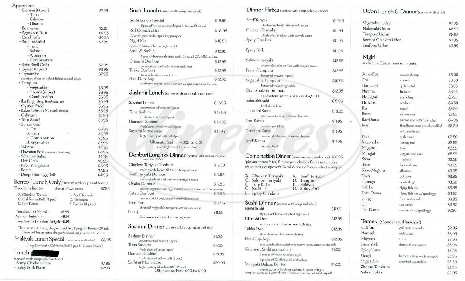 menu for Makiyaki