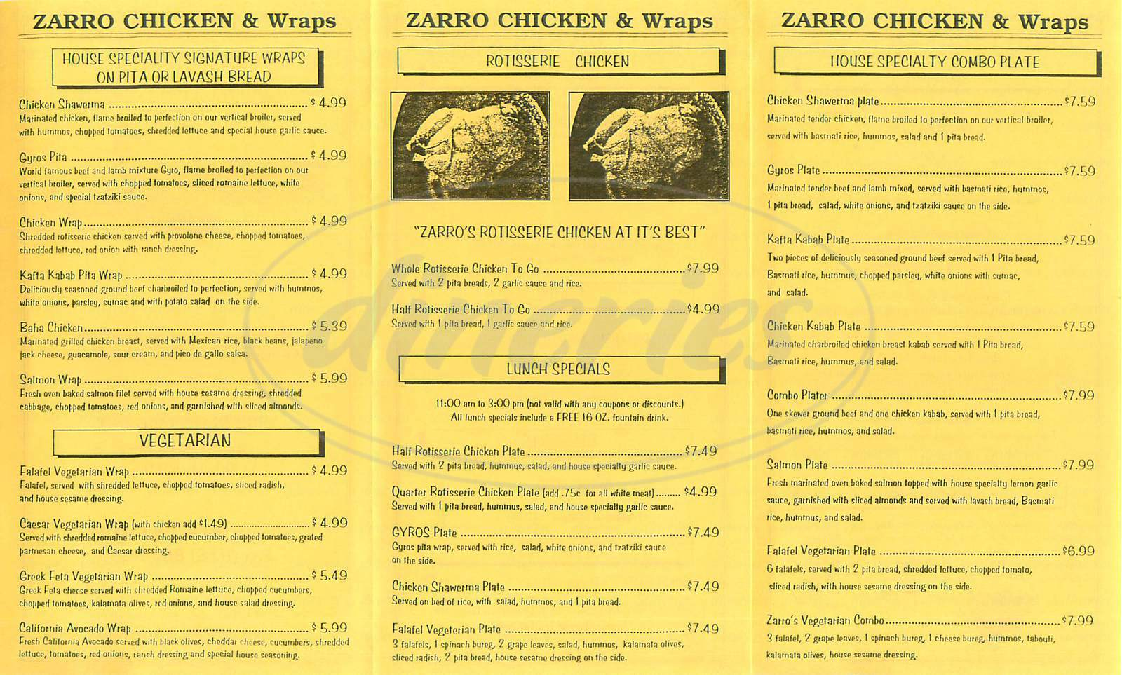 menu for Zarro Chicken