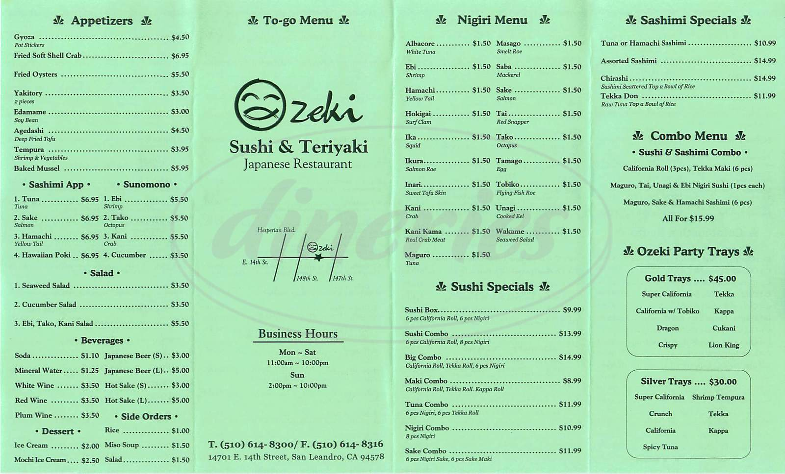 menu for Ozeki Sushi Teriyaki