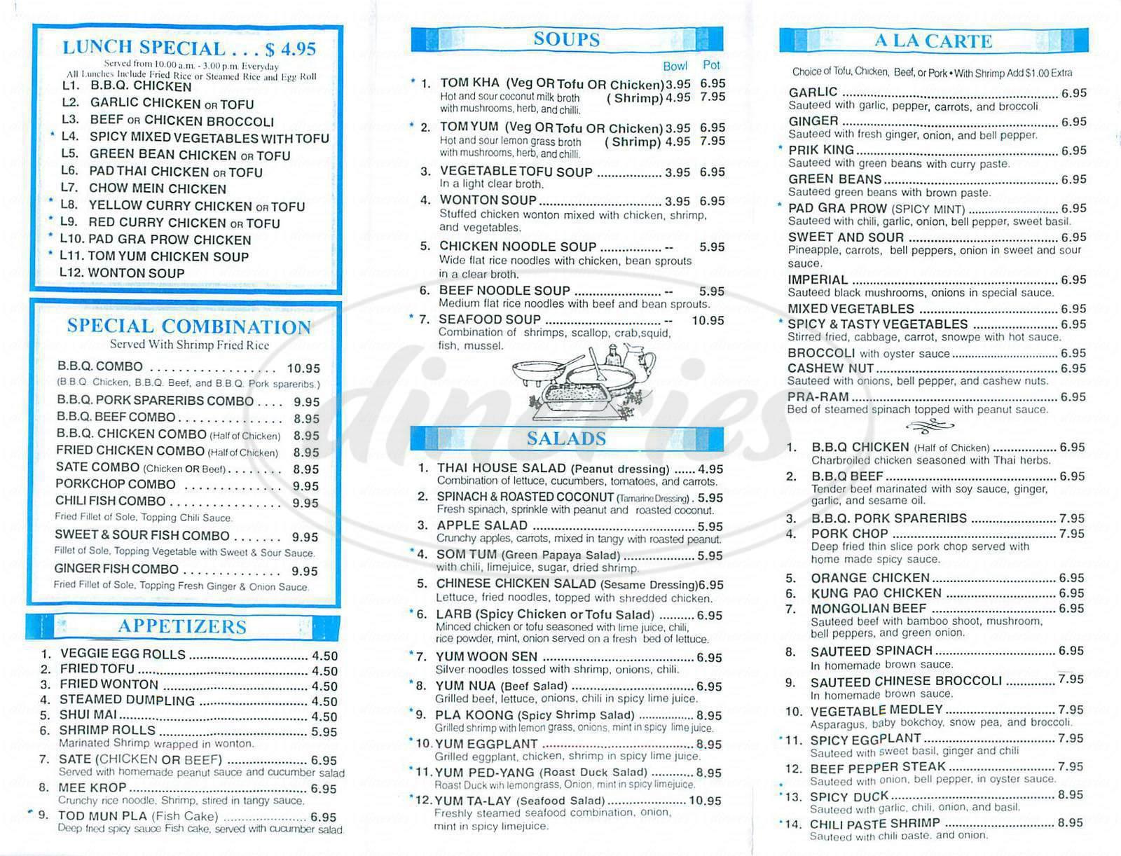 menu for Sicha Siam