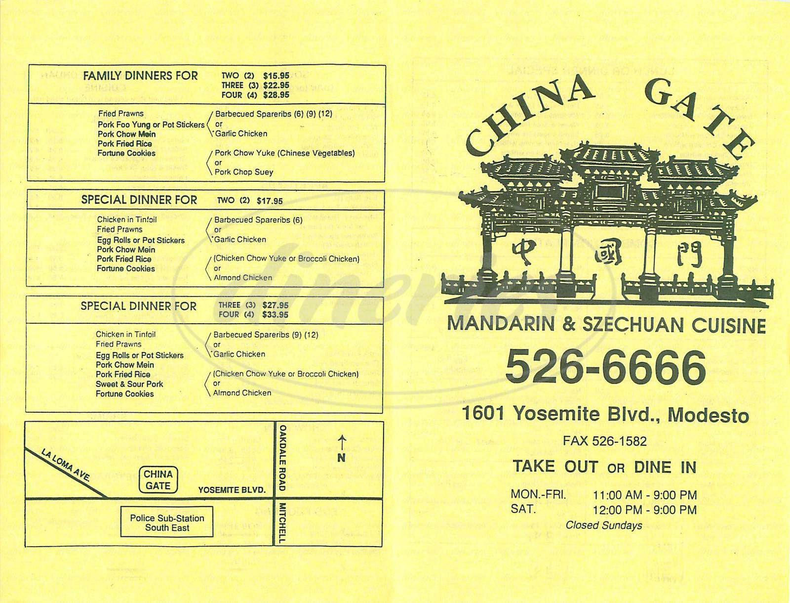 menu for China Gate