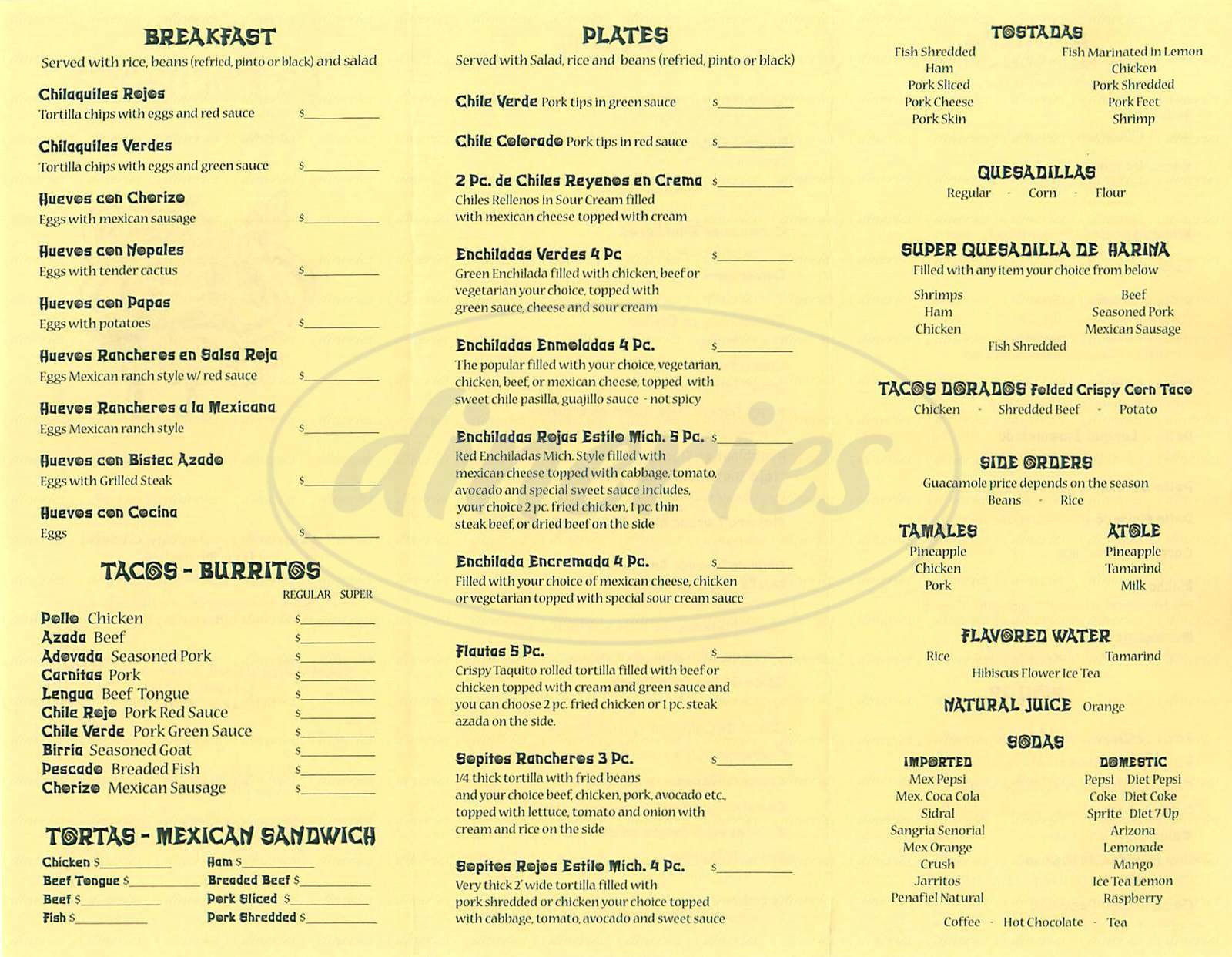 menu for La Pachanga