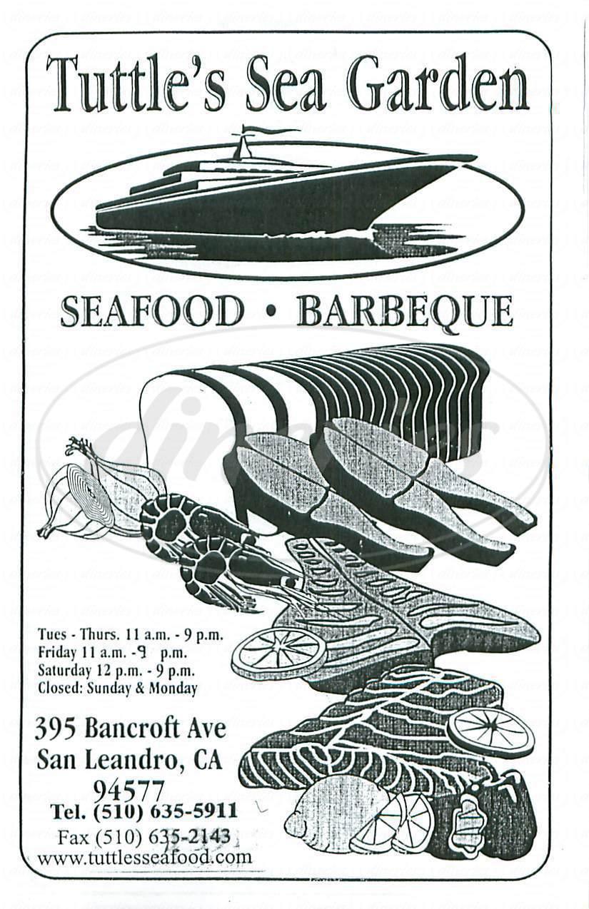 Big menu for Tuttles Sea Garden, San Leandro