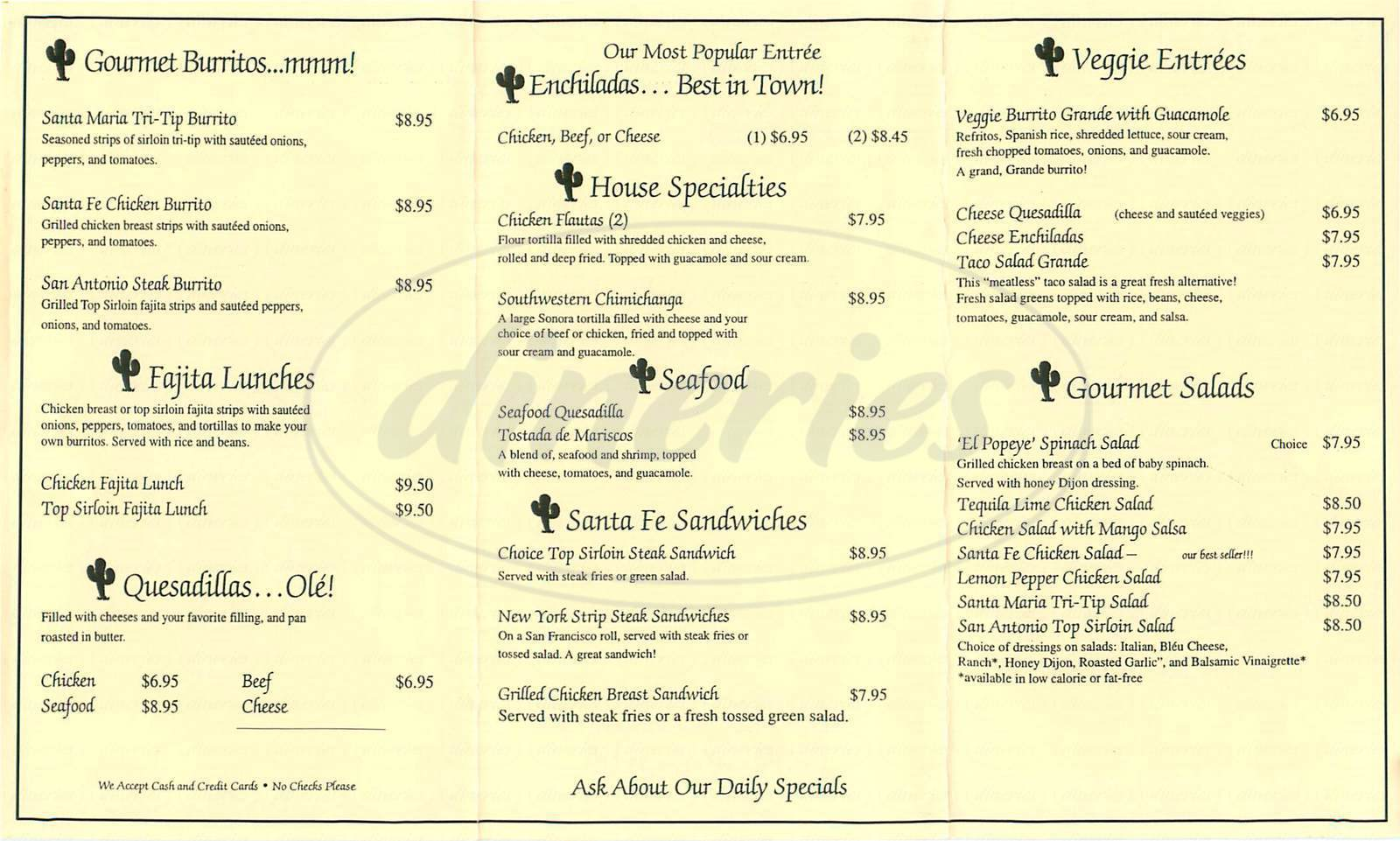 menu for Fernandos Santa Fe Café