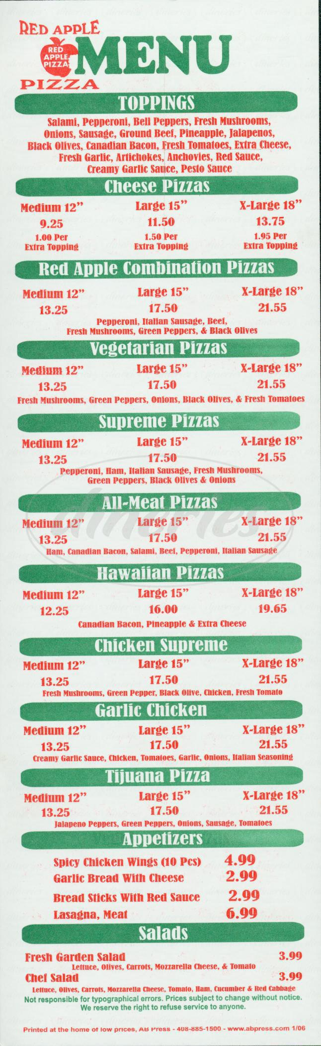 menu for Red Apple Pizza
