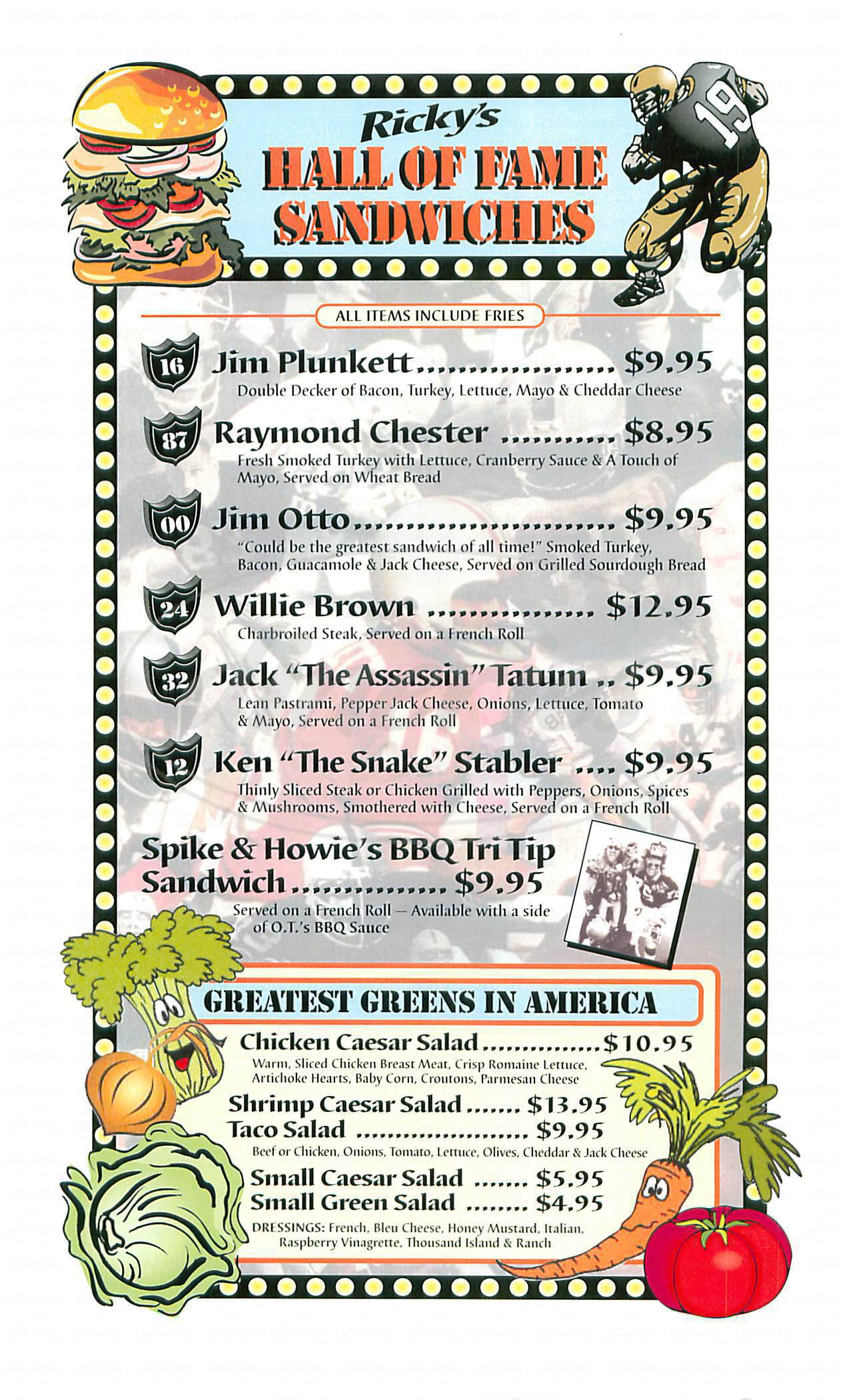 menu for Rickys Sports Grill Theater & Grill