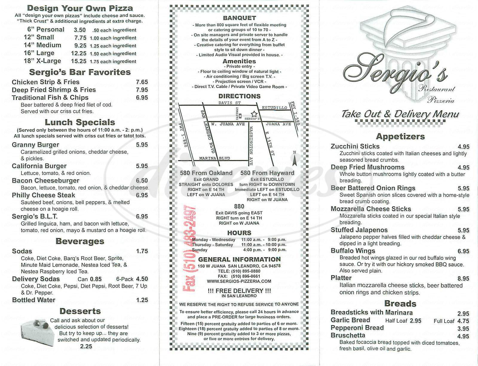 menu for Sergios Pizzeria