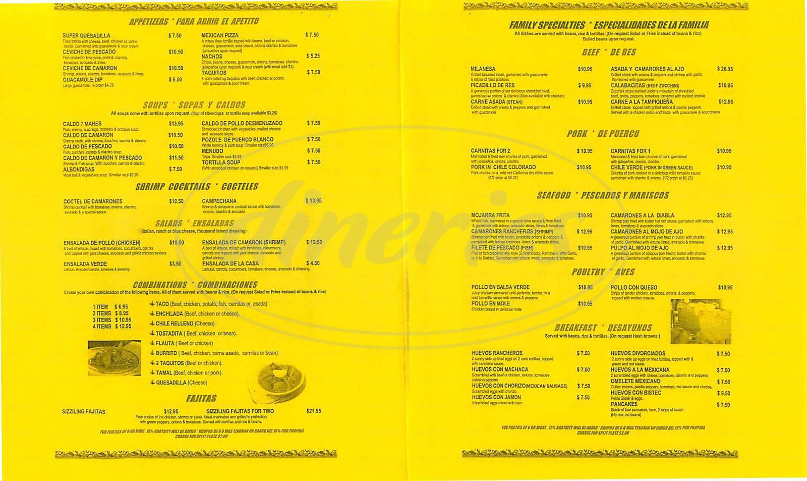 menu for Ricardo's Place