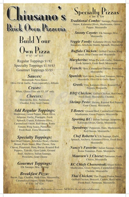 menu for Chiusano's Brick Oven Pizzeria