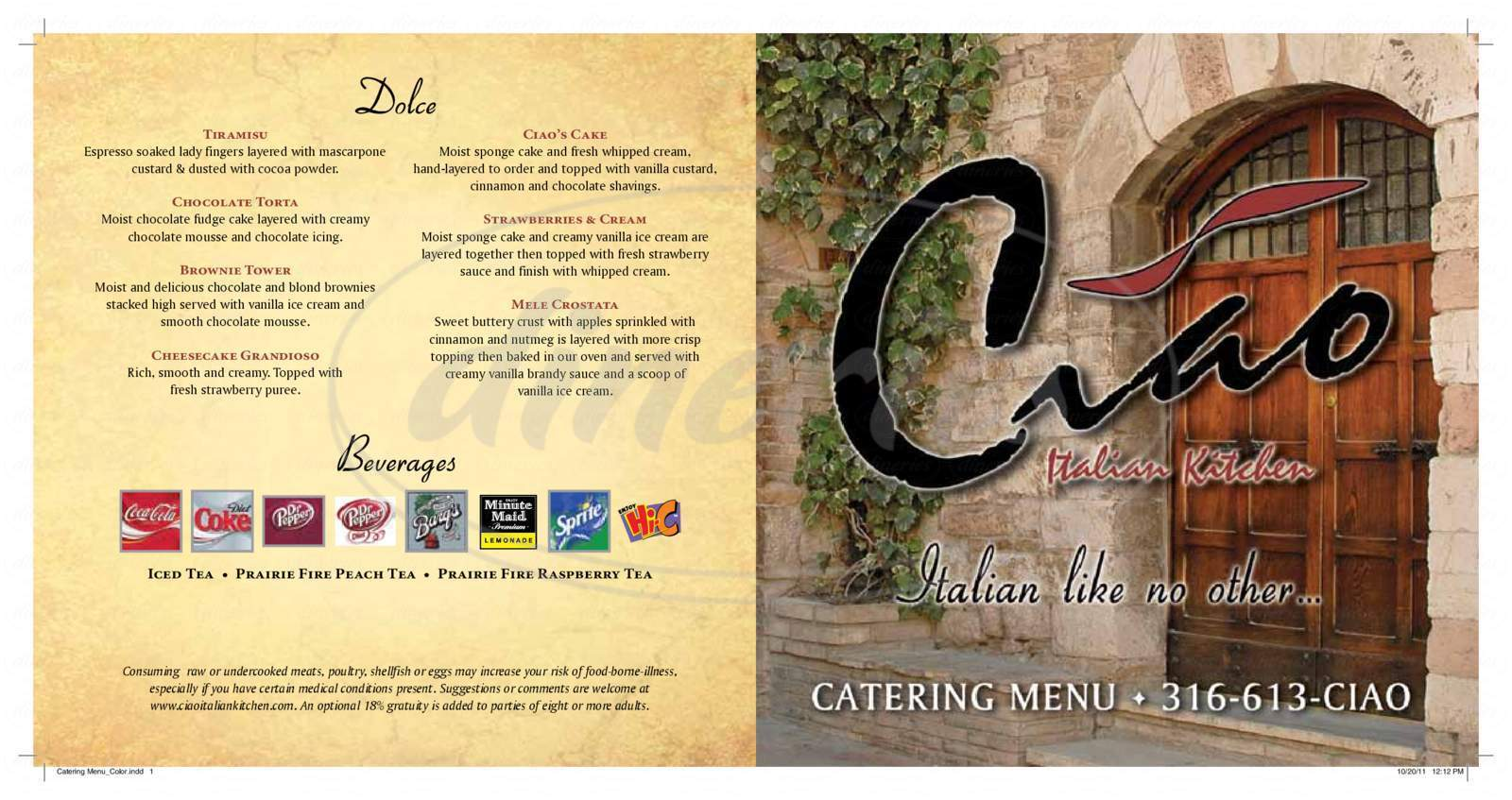 menu for Ciao Italian Kitchen
