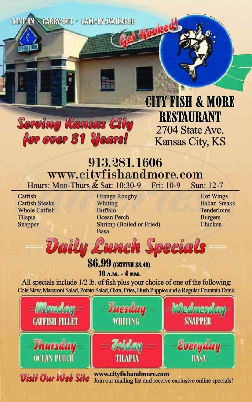 menu for City Fish & More Restaurant
