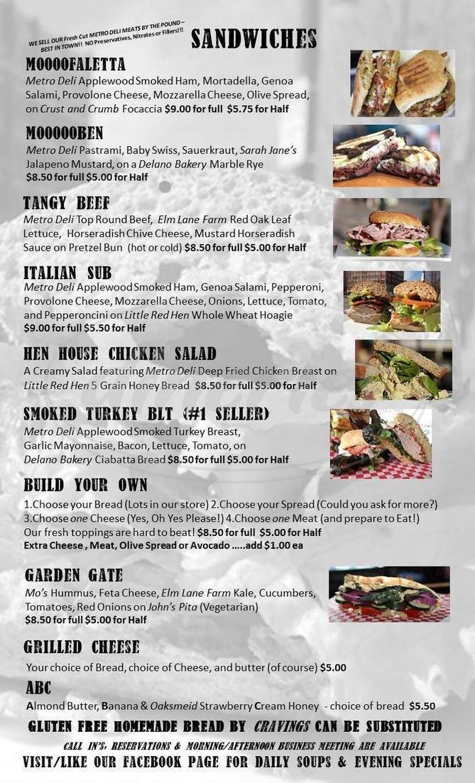 menu for Cow & Sow Deli