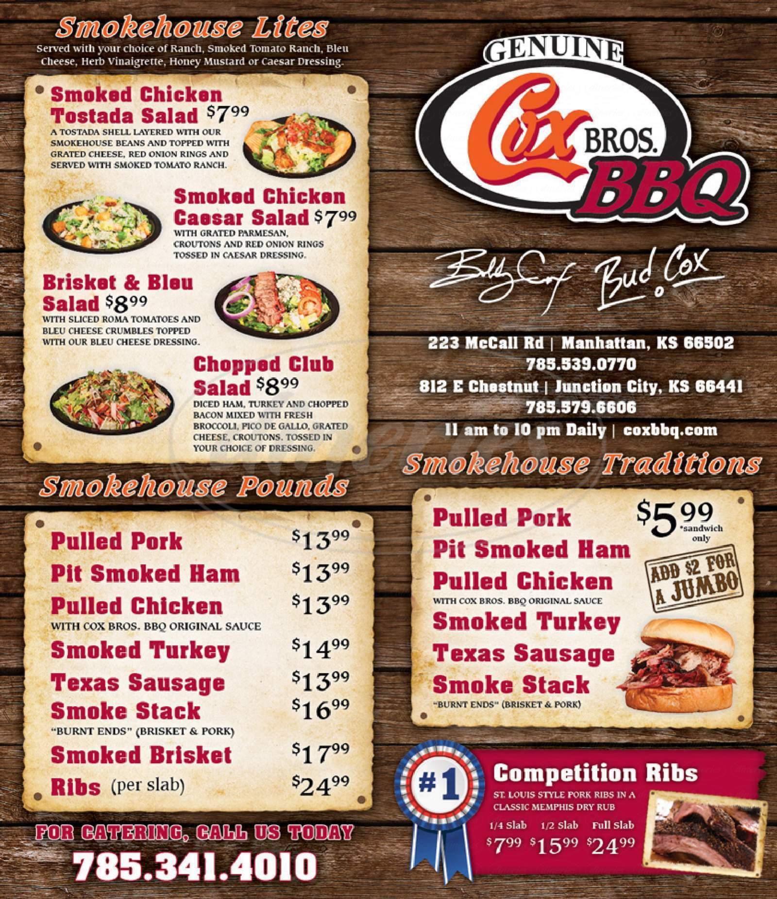 menu for Cox Bbq