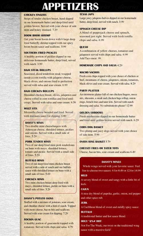 menu for Danny's Bar and Grill