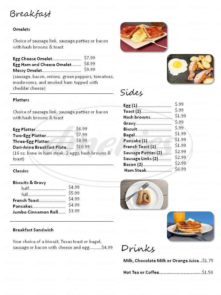 menu for Dari-Anne Cafe