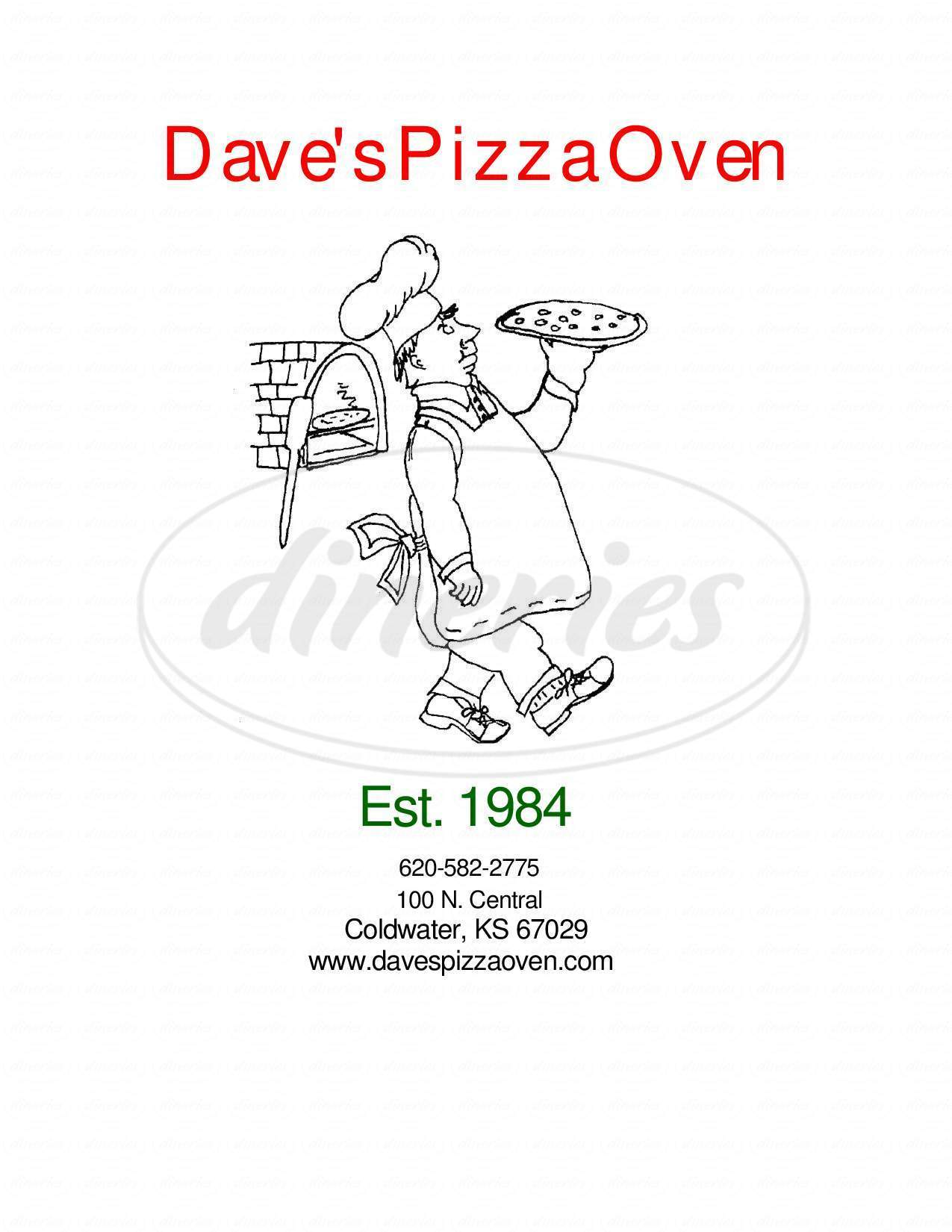 menu for Dave's Pizza Oven