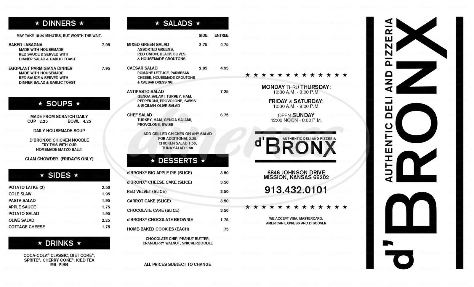 menu for d'Bronx