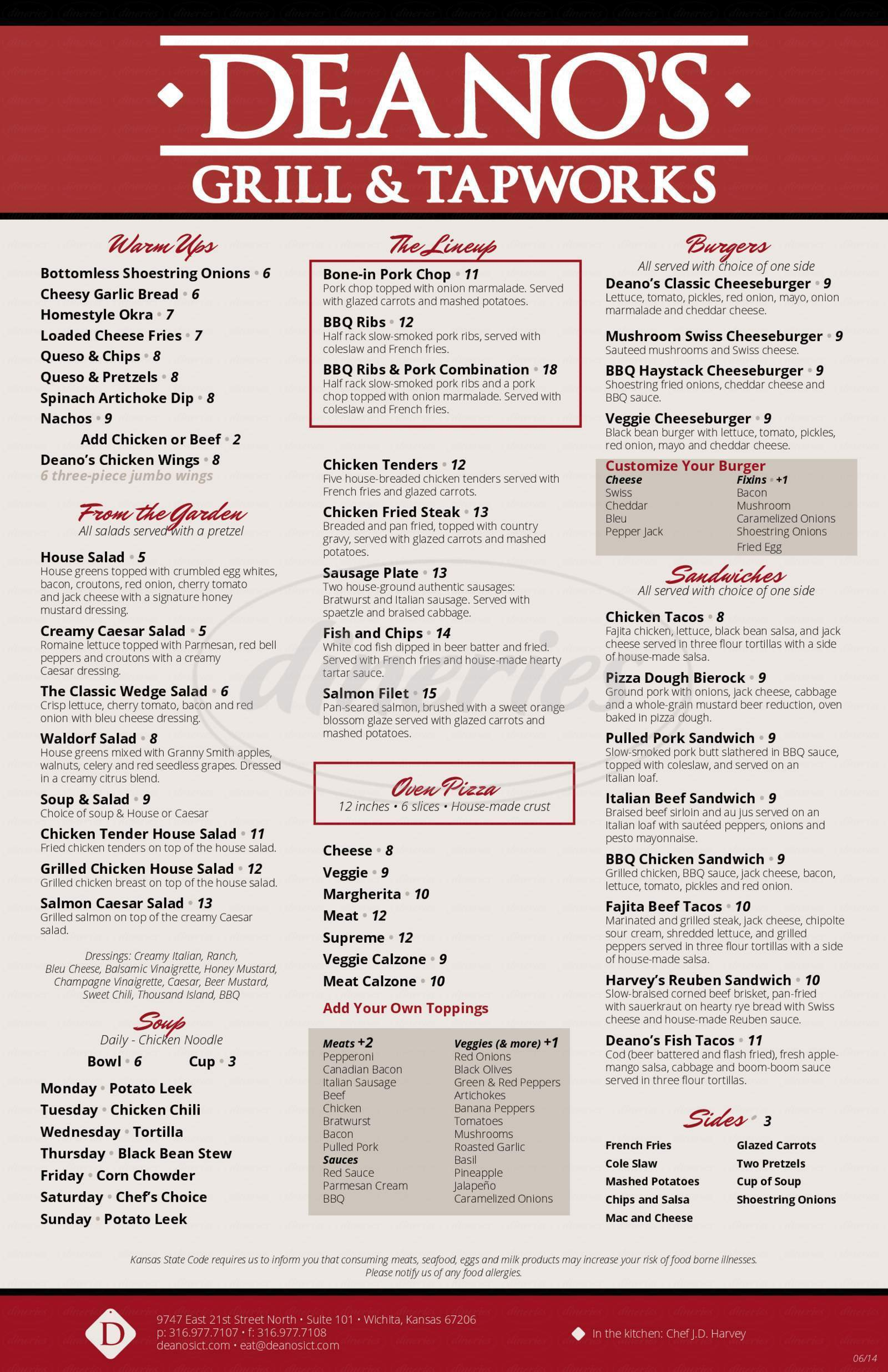 menu for Deano's Grill & Tapworks