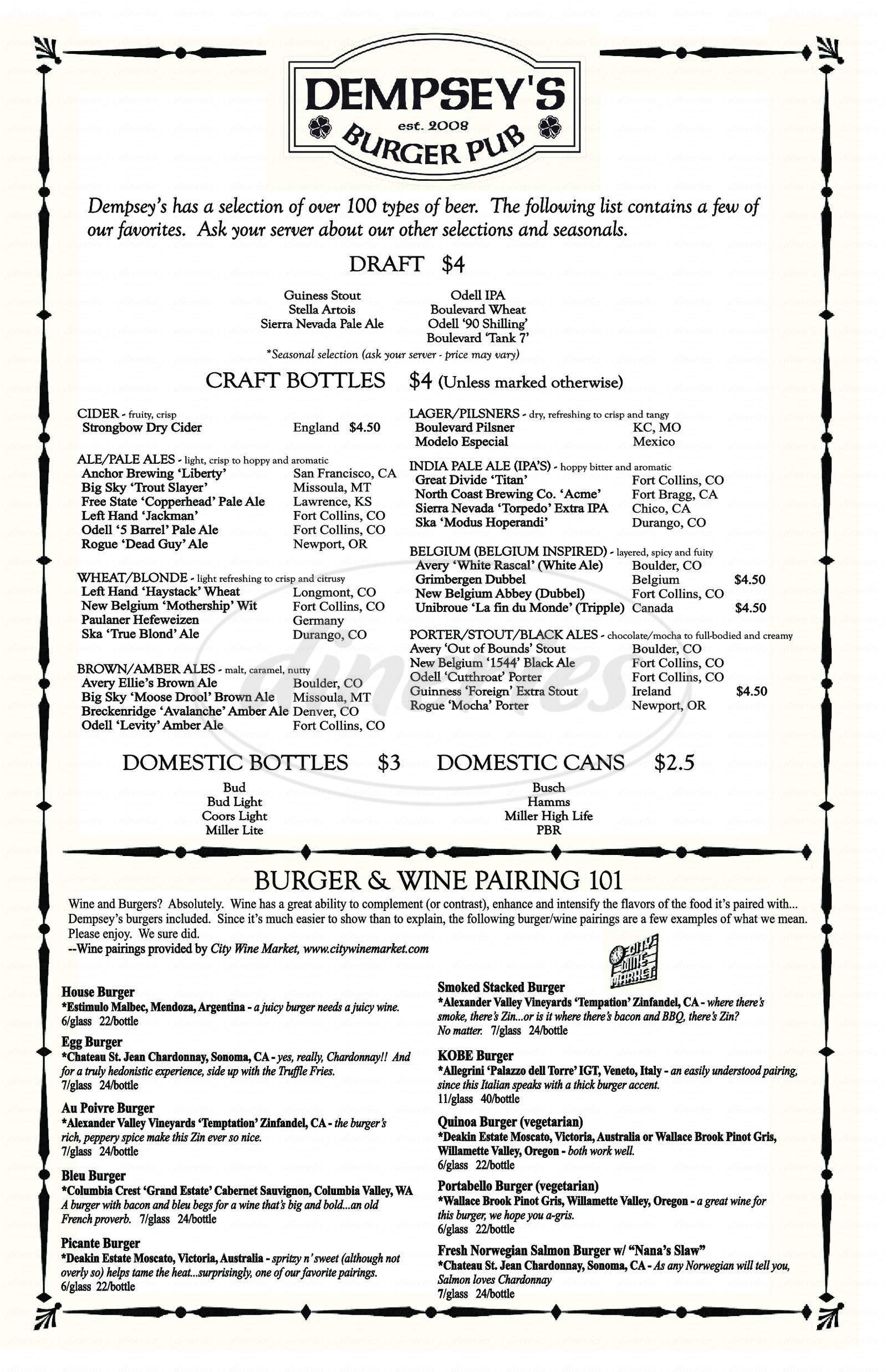menu for Dempsey's Burger Pub
