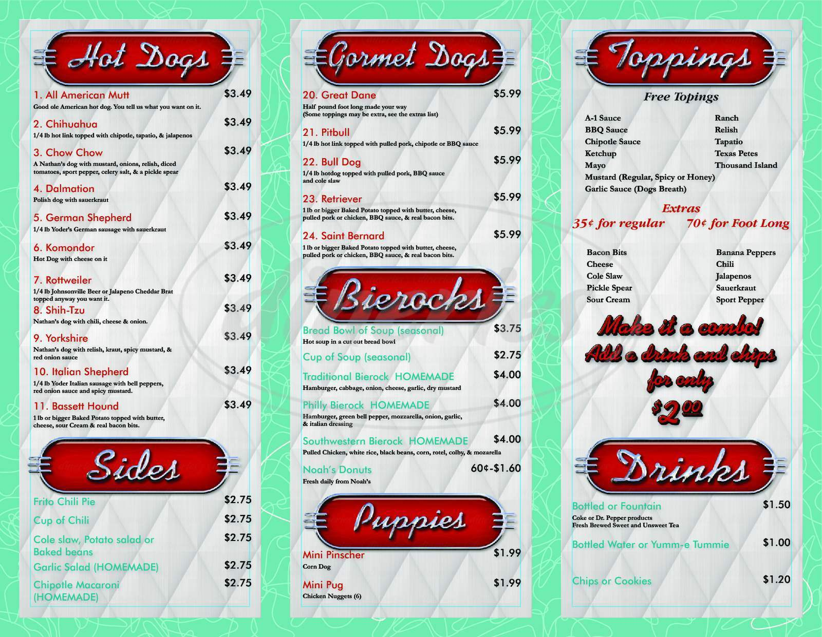 menu for Donavon's Steamin Weenies