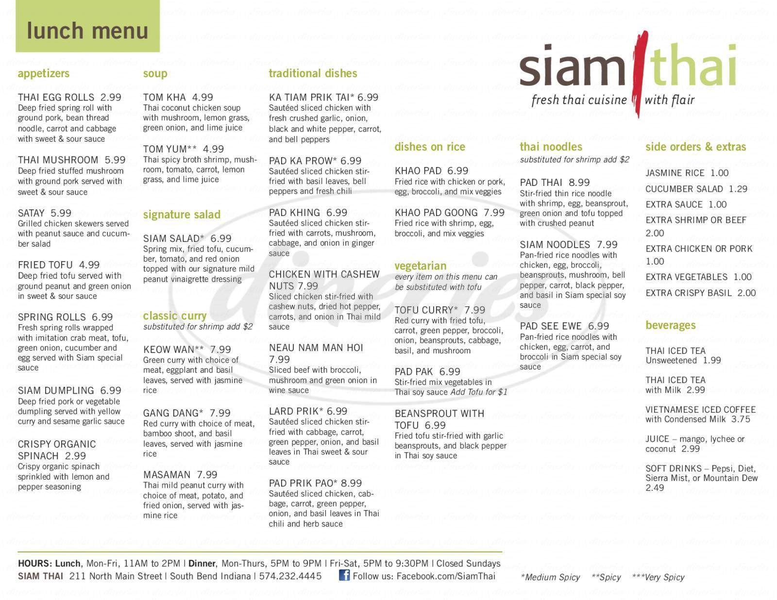 menu for Siam Thai