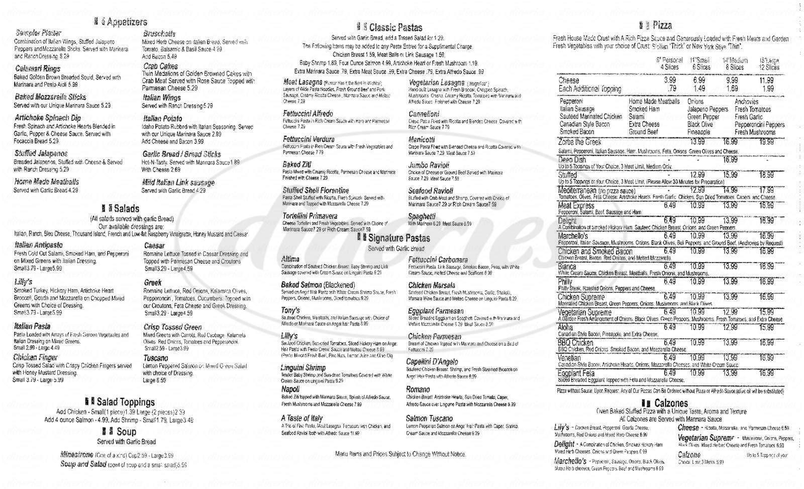 menu for Marchello's