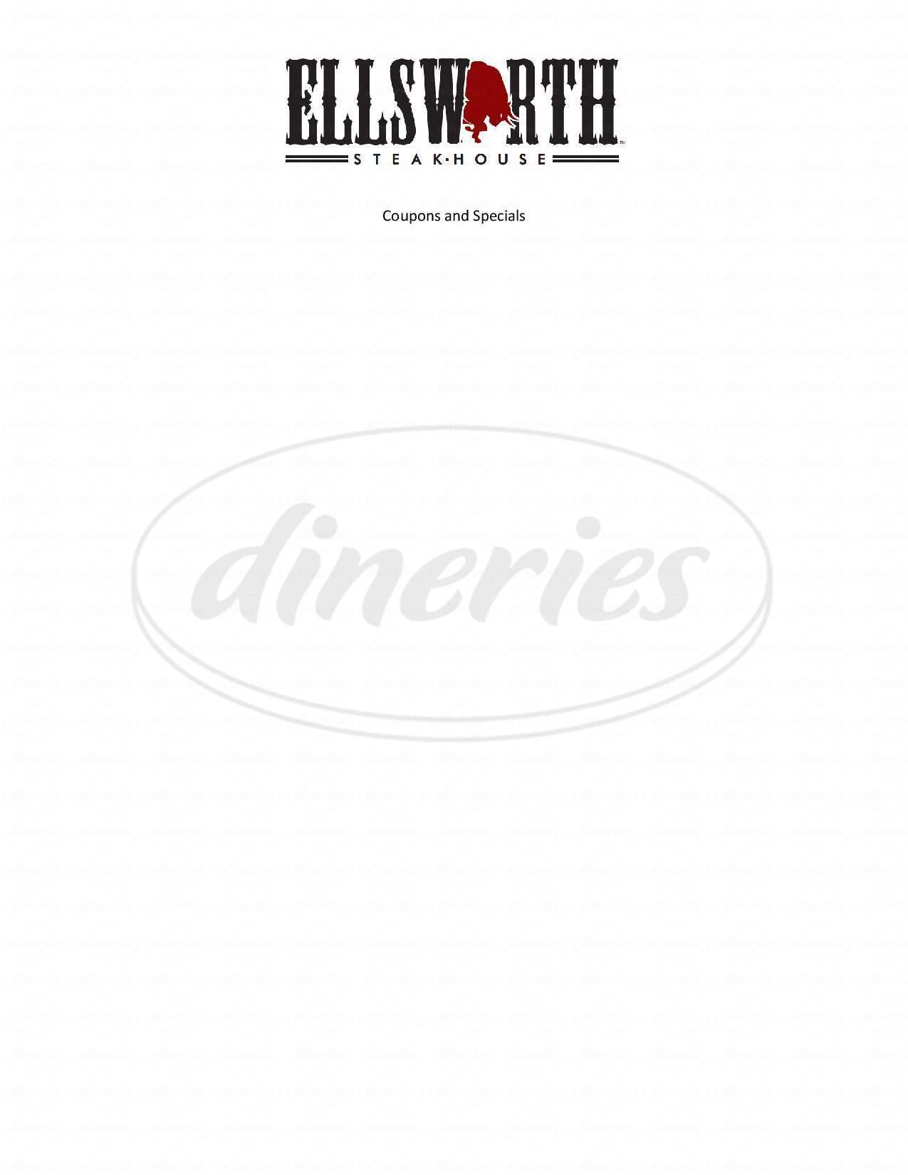 menu for Ellsworth Steak House