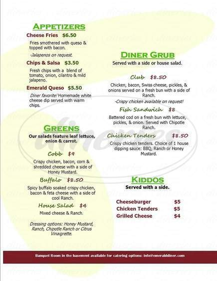menu for Emerald Diner