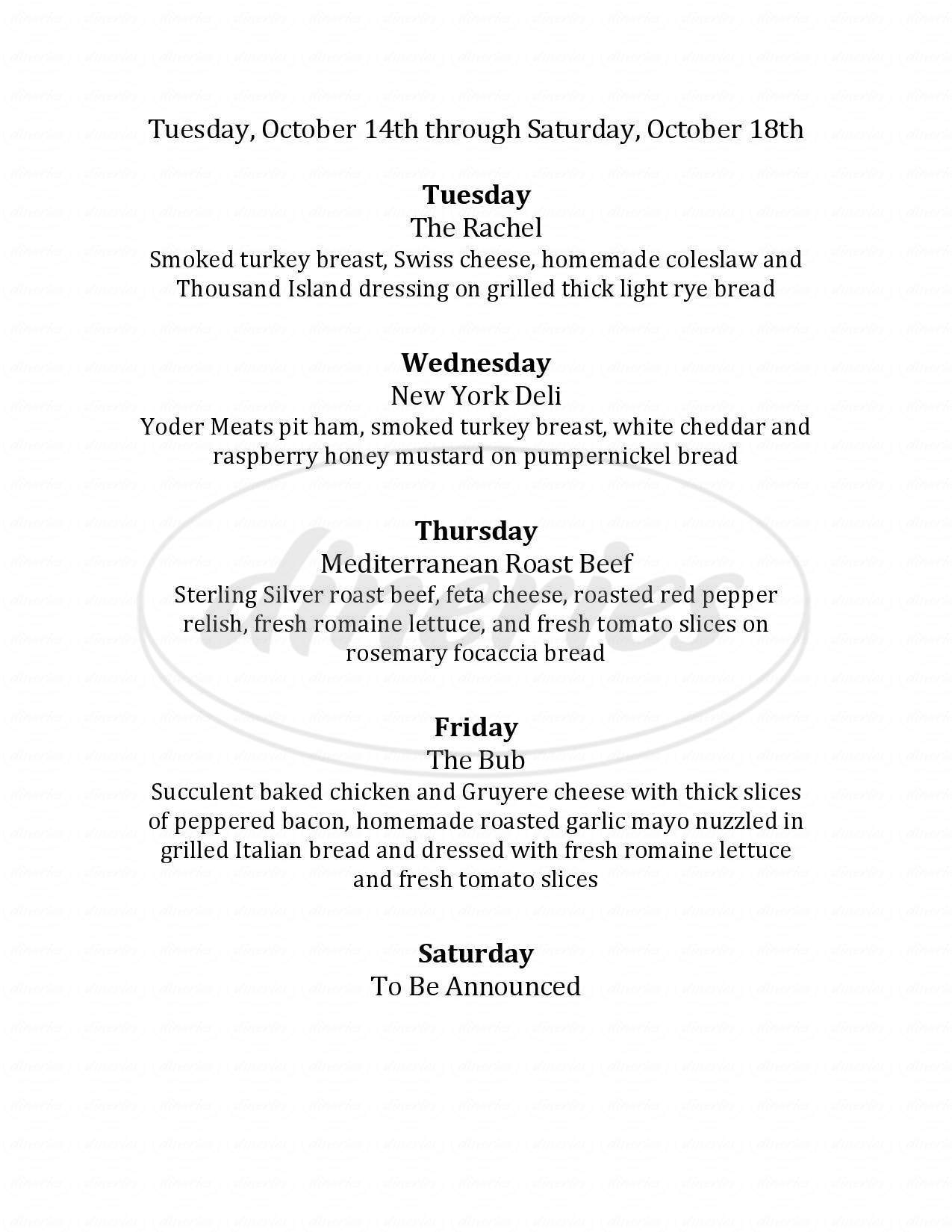 menu for Mustard Seed