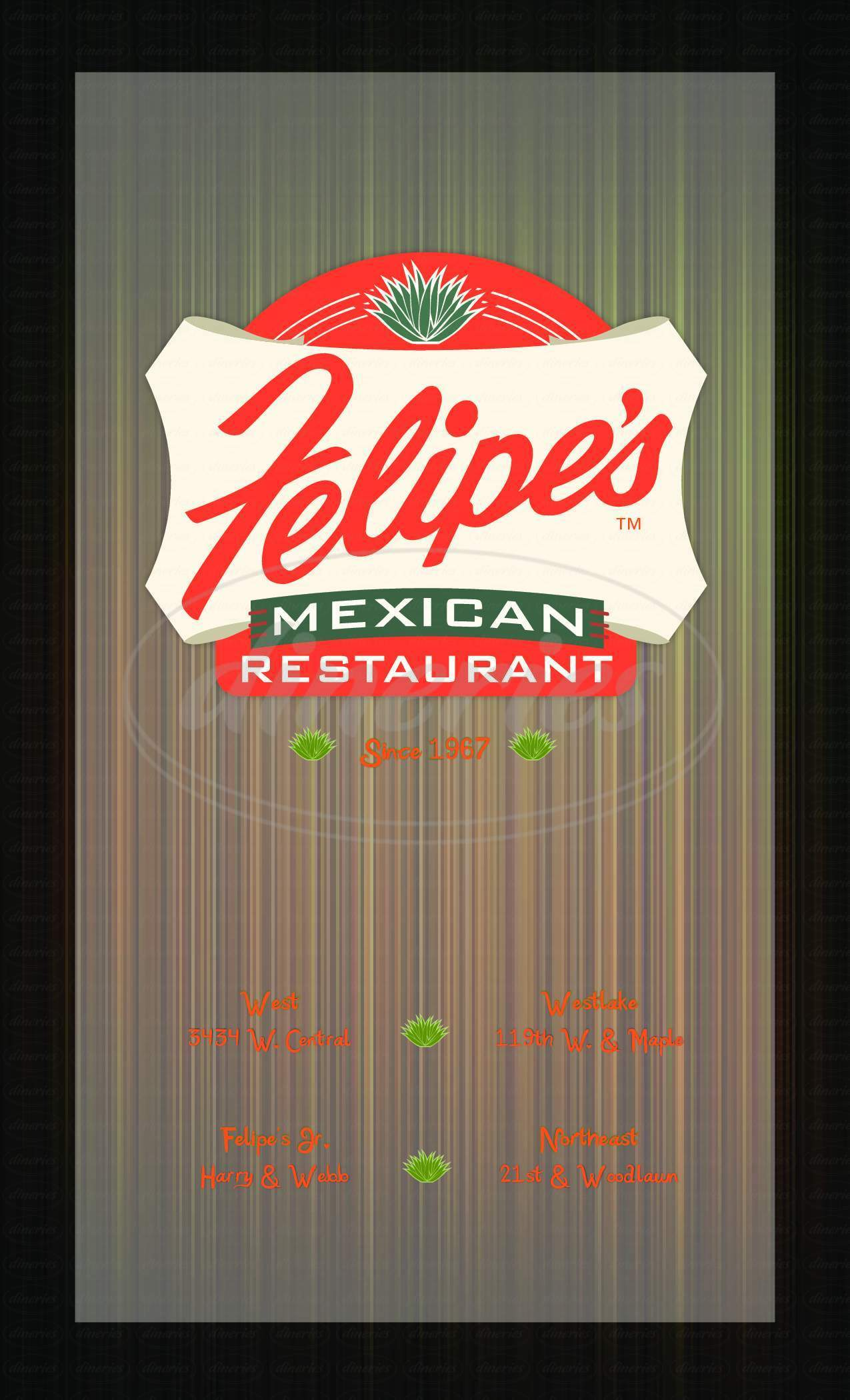 menu for Felipe's Mexican Restaurant