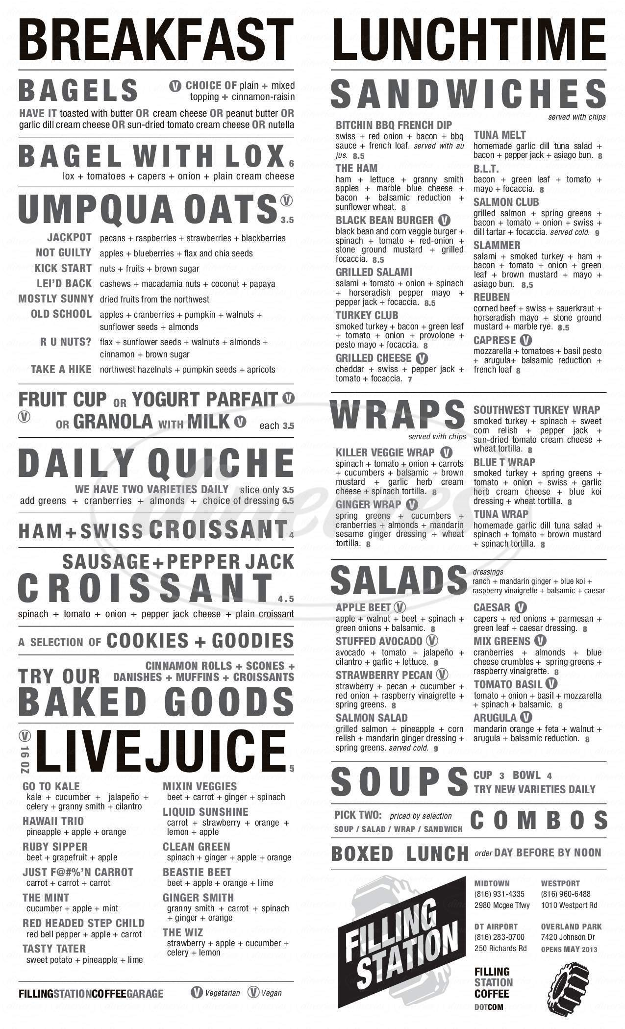 menu for Filling Station Coffee