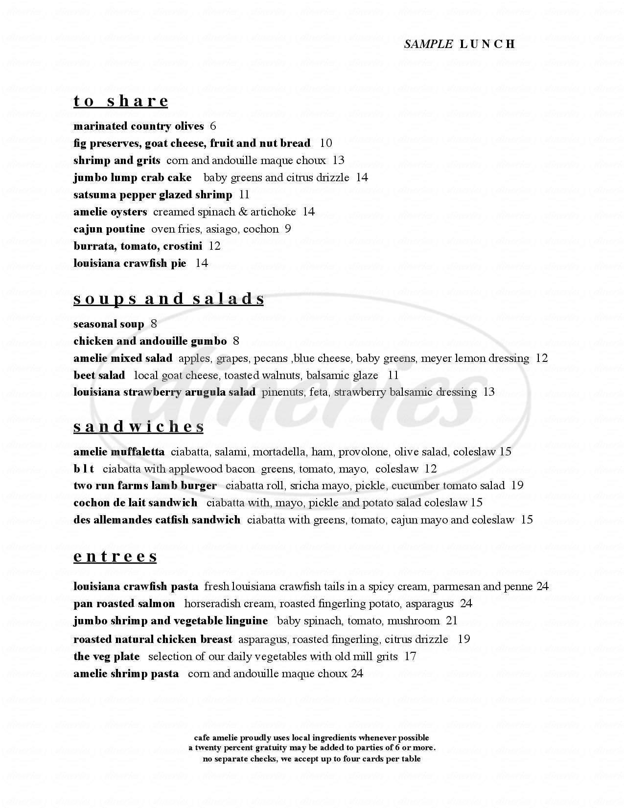 menu for Café Amelie