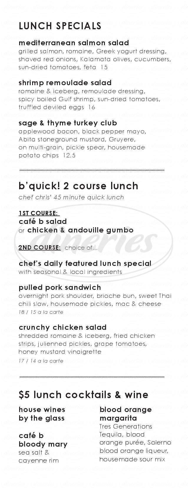 menu for Cafe B