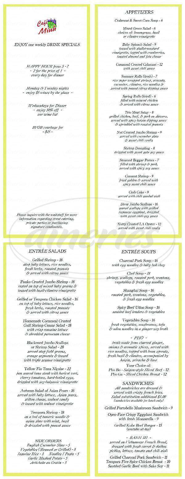 menu for Cafe Minh
