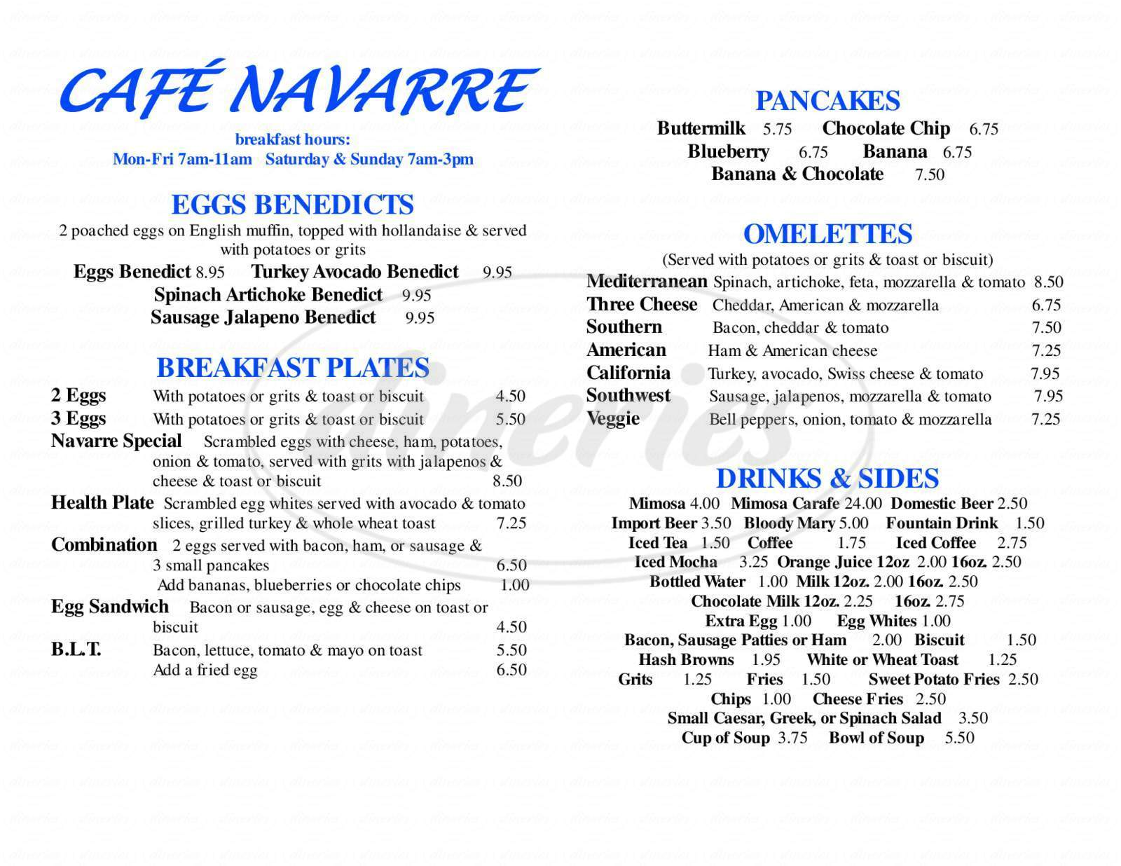 menu for Cafe Navarre