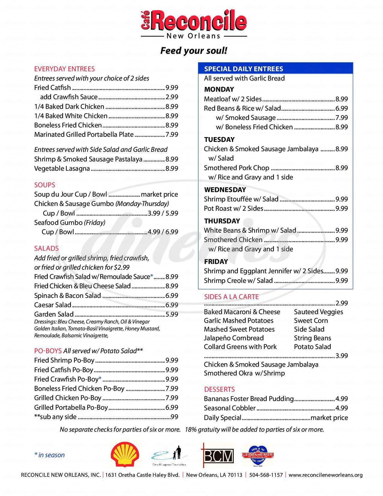menu for Café Reconcile