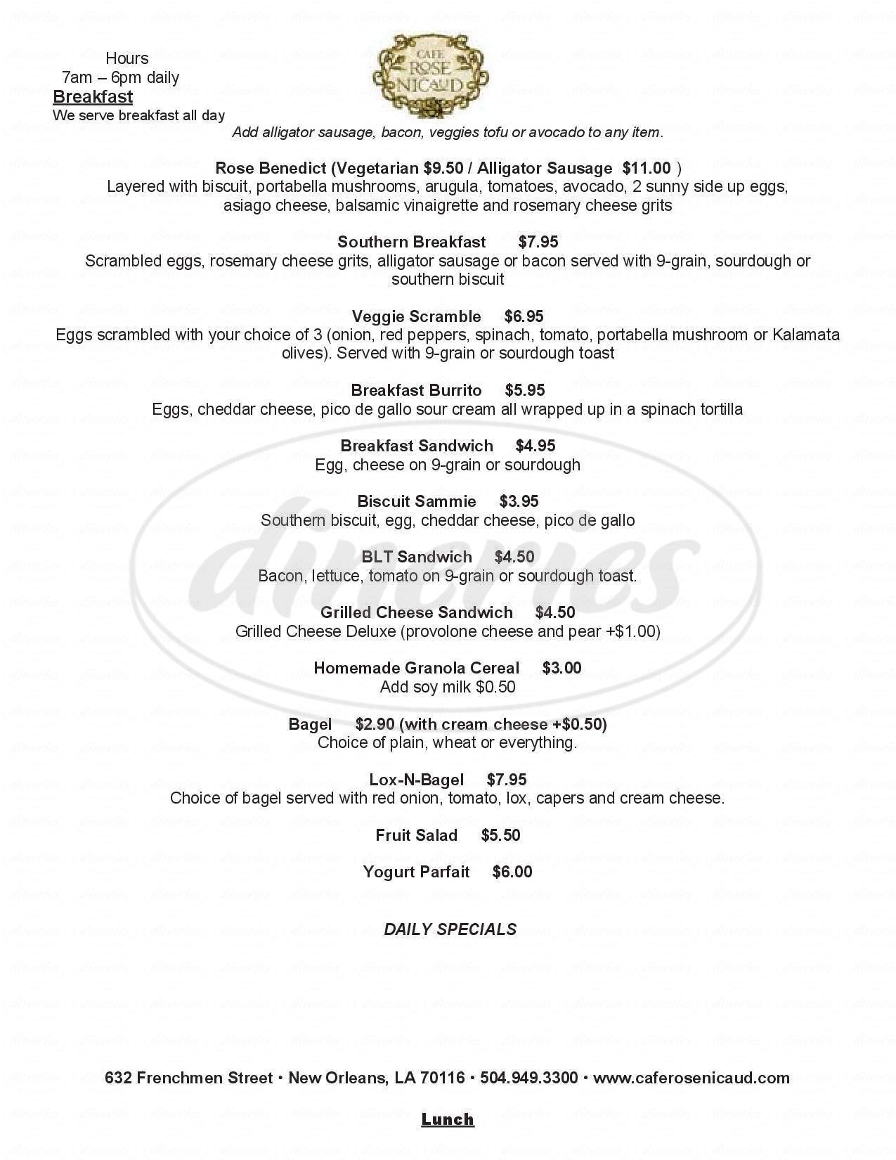 menu for Cafe Rose Nicaud
