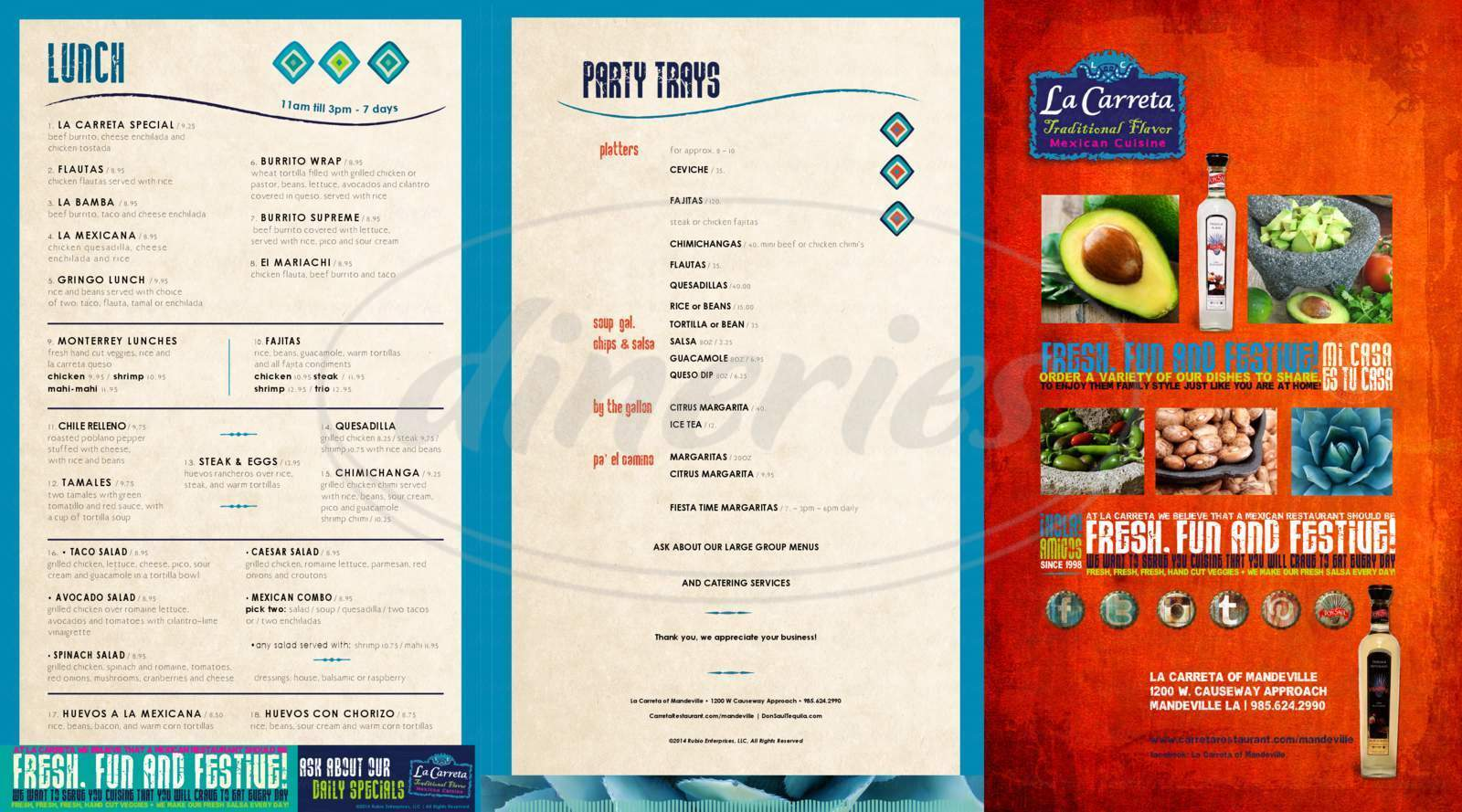 menu for La Carreta of Mandeville