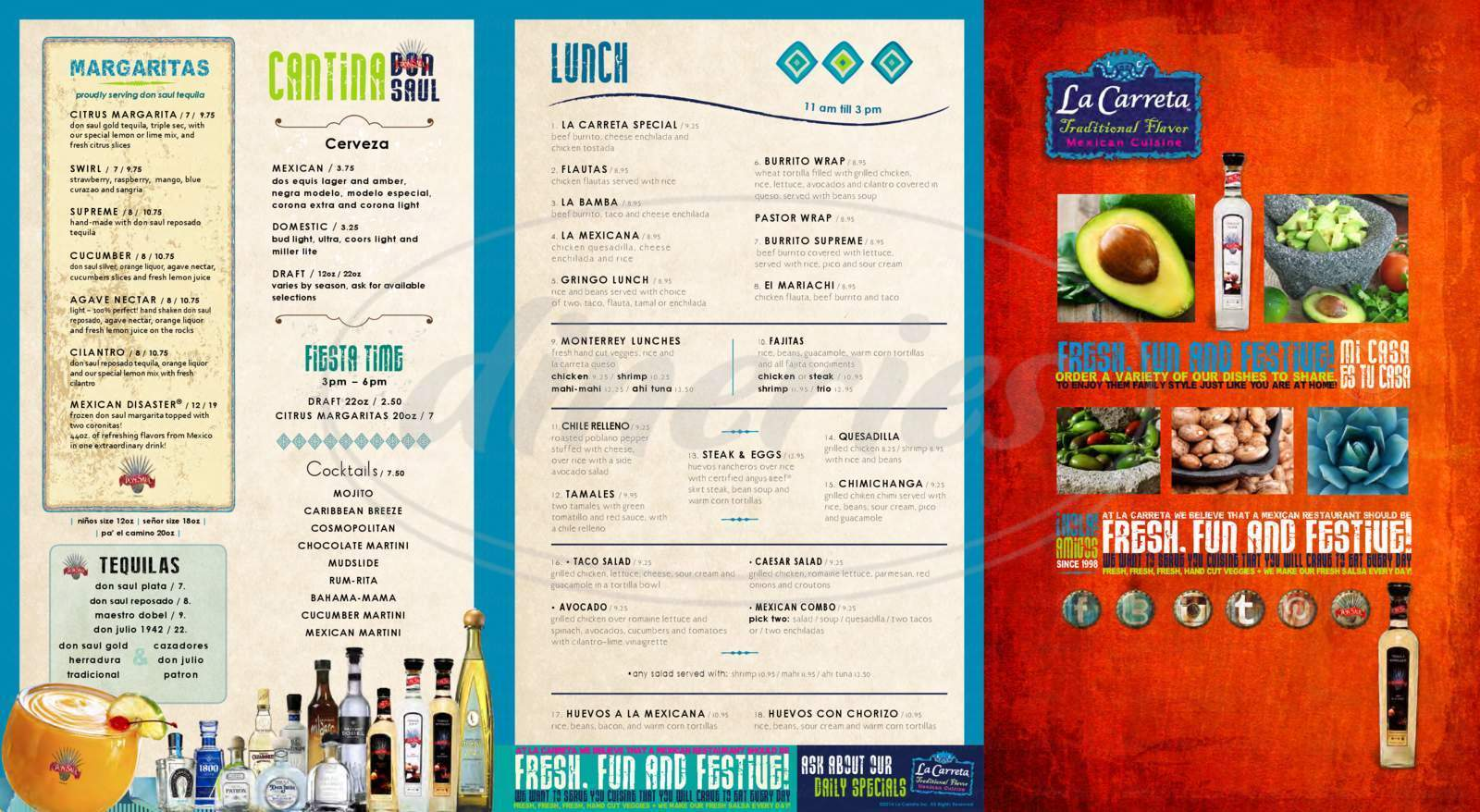 menu for La Carreta