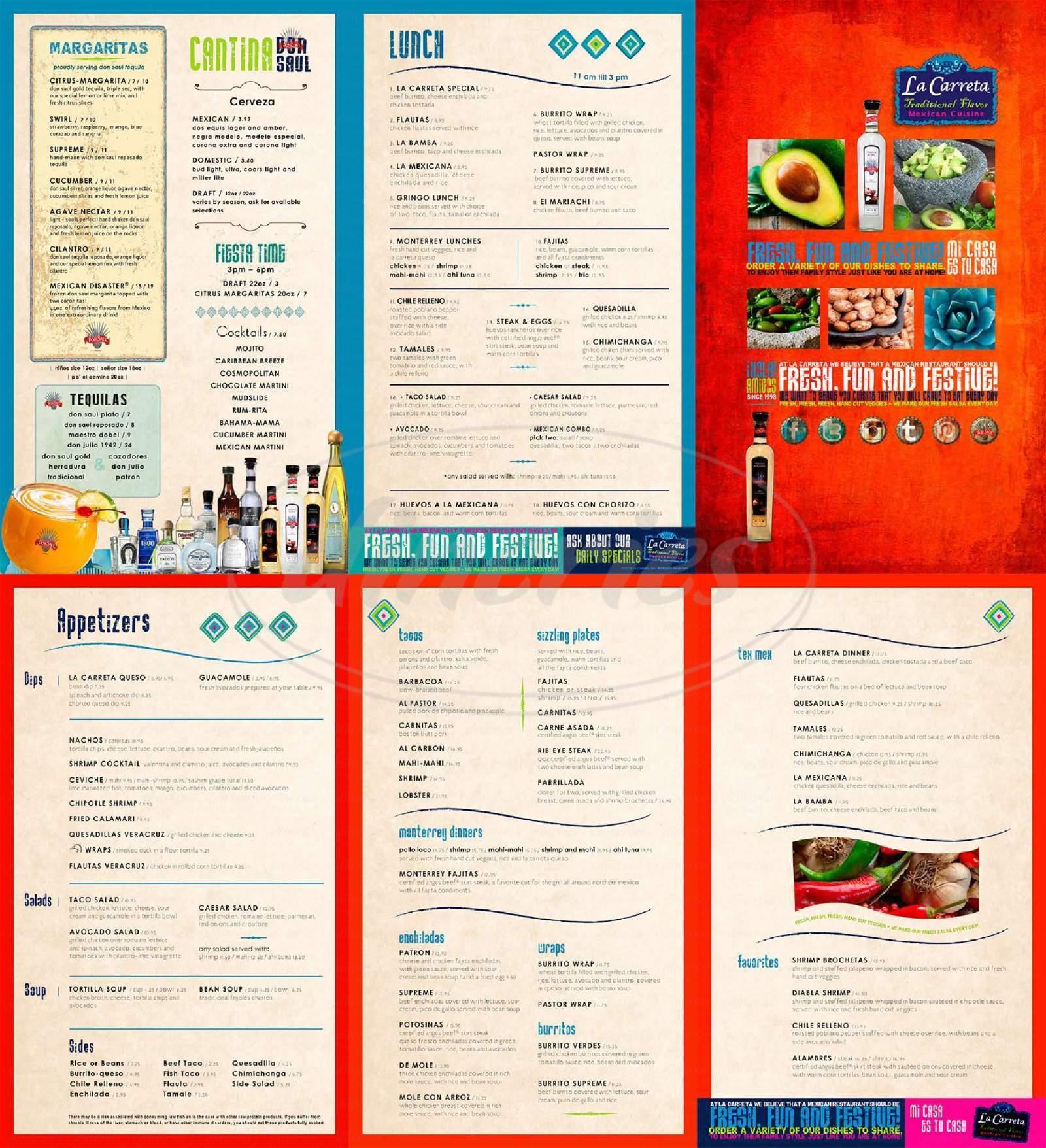 menu for La Carreta