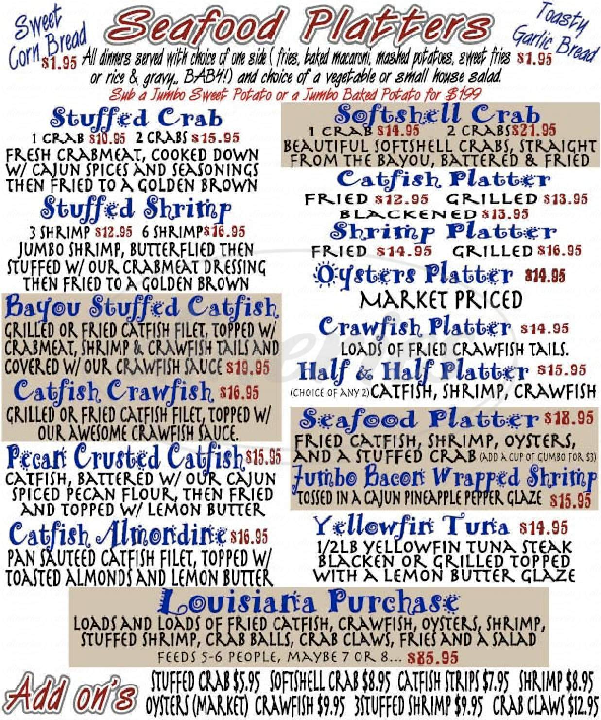 menu for Charlie's Restaurant & Catering