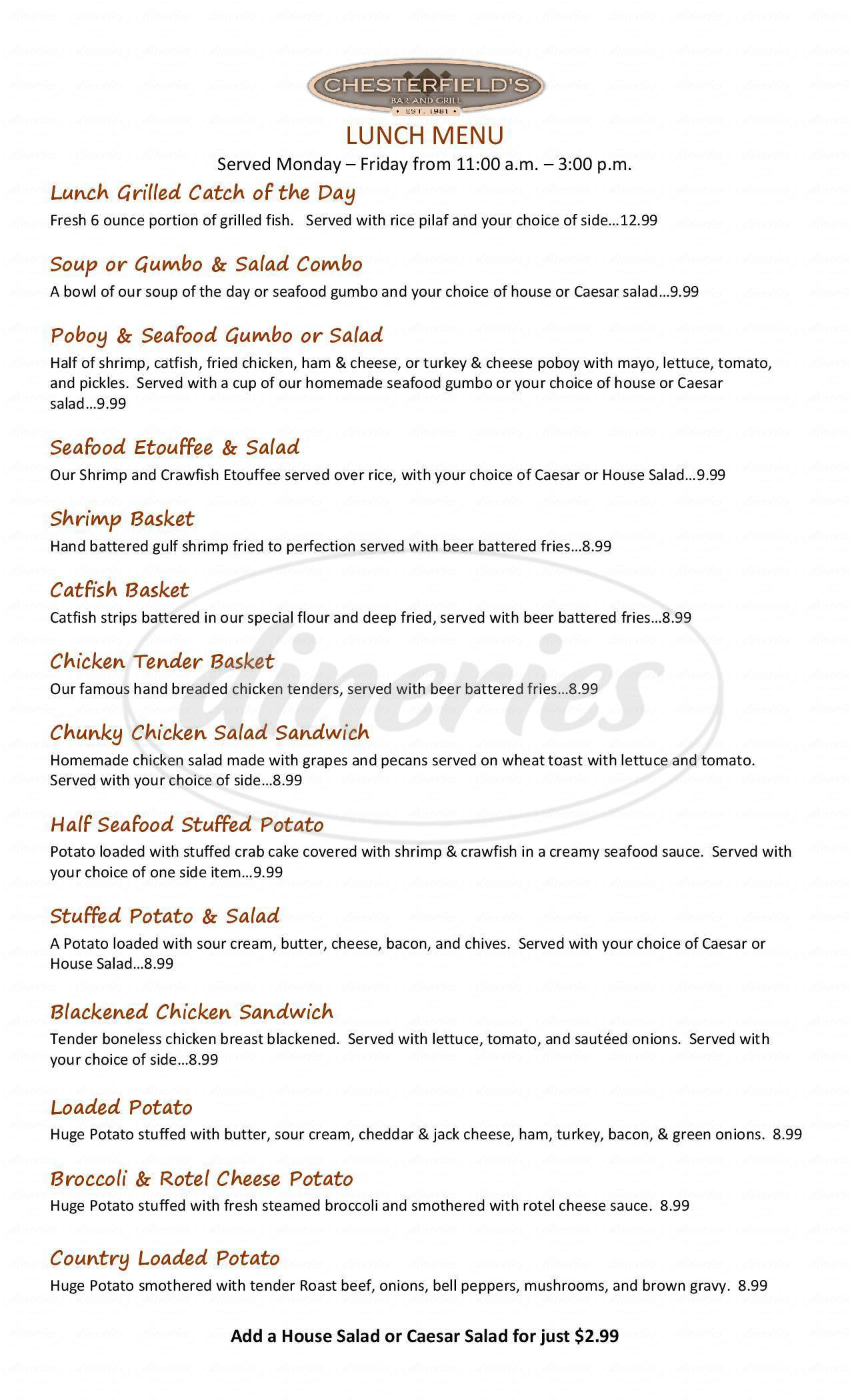 menu for Chesterfields