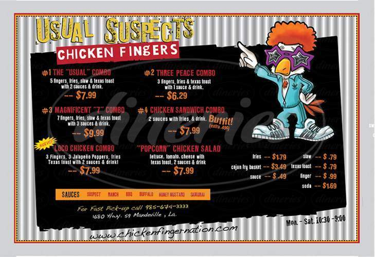 menu for Usual Suspect Chicken Fingers