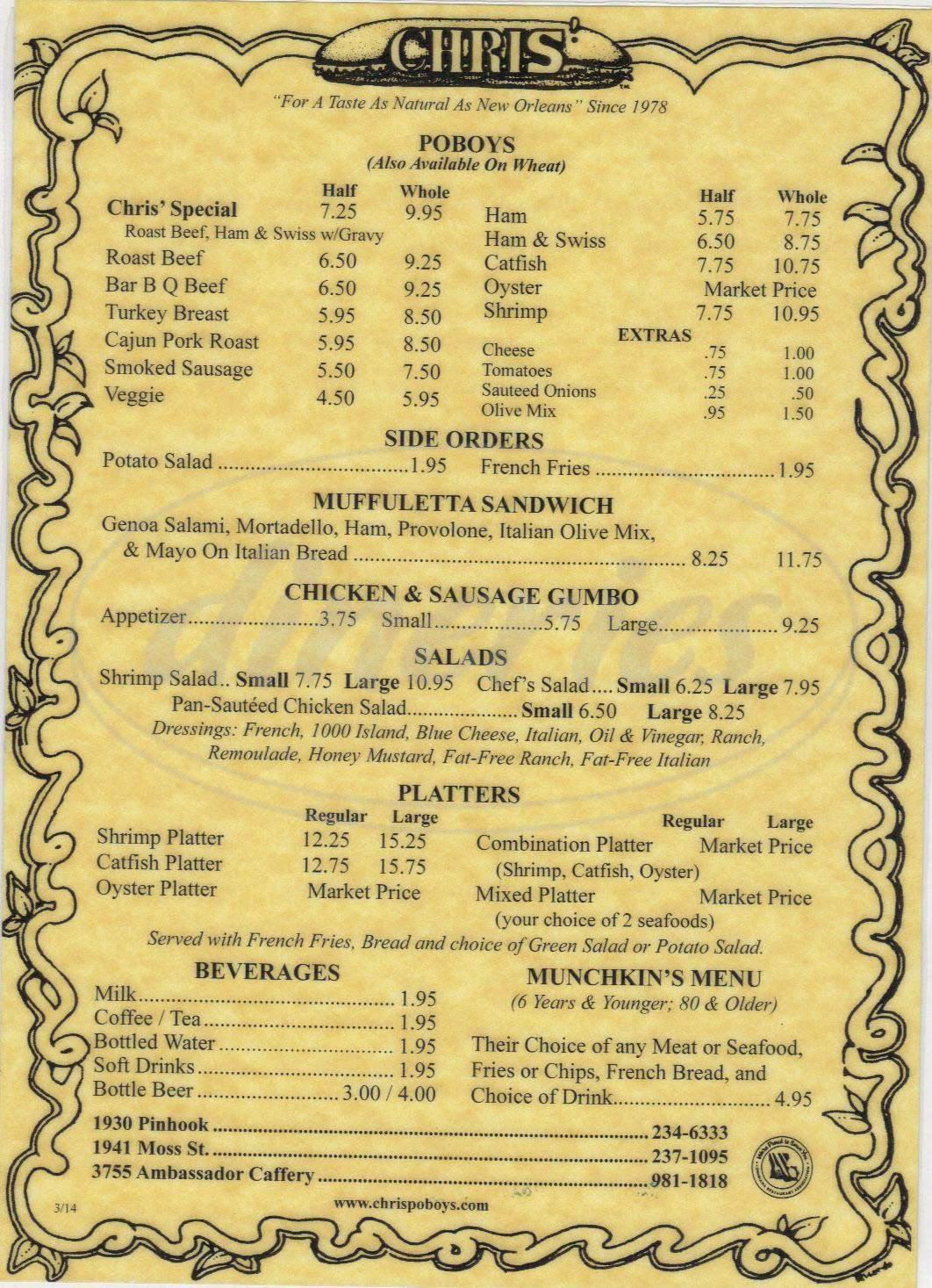 menu for Chris' Poboys