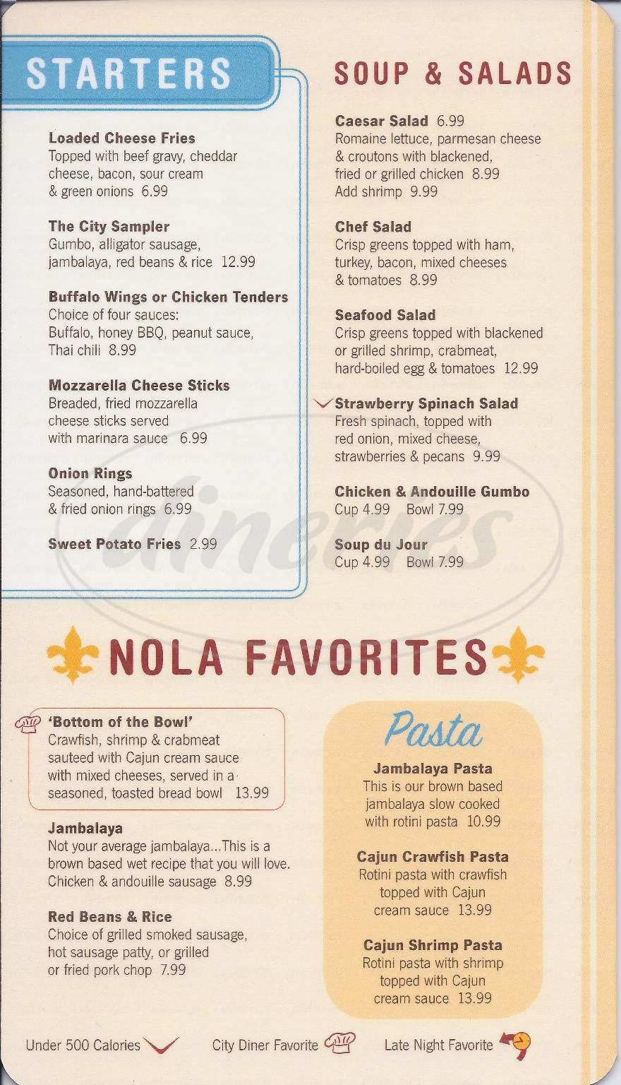 menu for City Diner