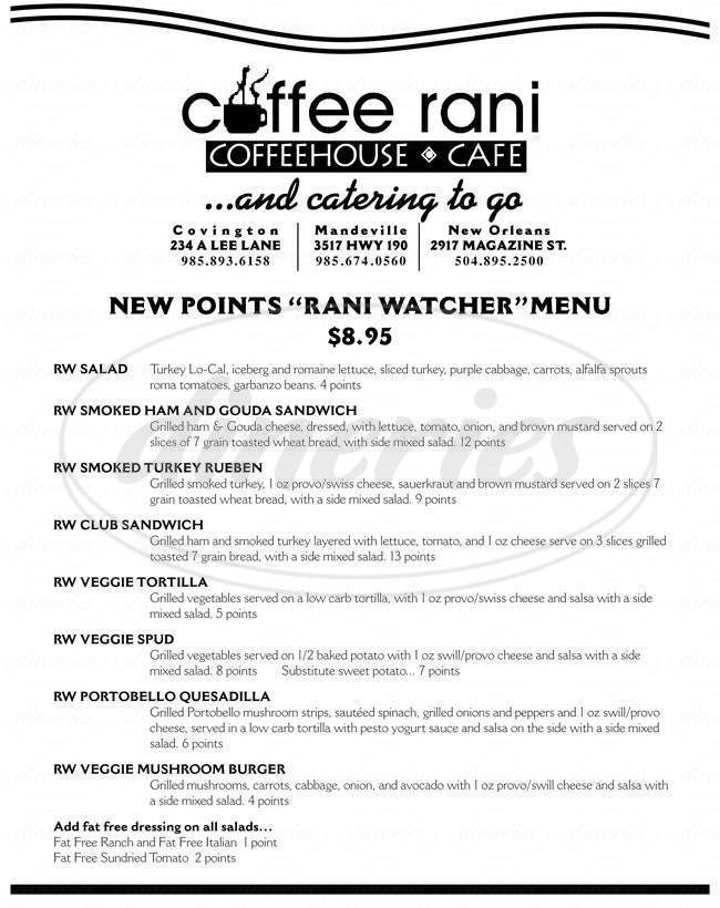 menu for Coffee Rani